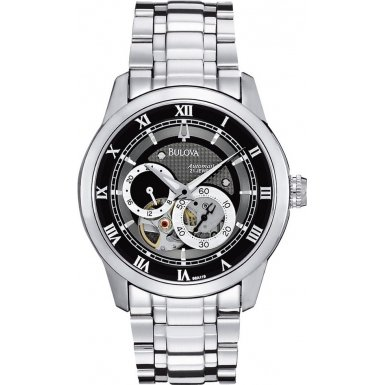 Bulova 96A119 Mens Automatic Silver Black Watch