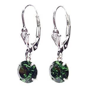 SILVER LEVERBACK EARRINGS MADE WITH SPARKLING EMERALD SWAROVSKI CRYSTAL. HIGH QUALITY. LOW PRICES.