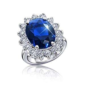 Bling Jewelry Kate Middleton Diana Royal Engagement Ring Cubic Zirconia Sapphire Color Silver Plated with Crystal Gift Box - Size 9