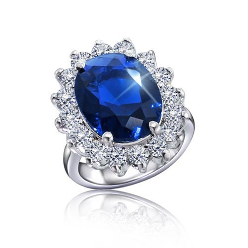 Bling Jewelry Kate Middleton Diana Royal Engagement Ring Cubic Zirconia Sapphire Color Silver Plated with Crystal Gift Box – Size 7