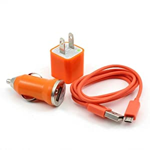 Orange 3in1 US Plug Wall Charger + Mini Car Charger + Micro USB Data Charger Cable for Samsung Galaxy S2 S3 i9100 i9300 i9070 i9103