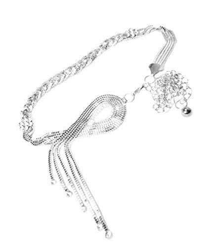 TdZ Metallic Fashion Chain Belt - Lariat Braid Rhinestones (Silver)