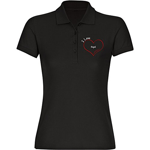 Multifanshop Poloshirt Kurzarm Modern I Love Nepal schwarz Damen Gr. S bis 2XL