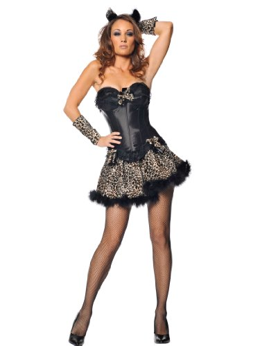 Sexy Kitty Costume Cat Leopard Lion Wild Dress Animal Print Womens Theatrical