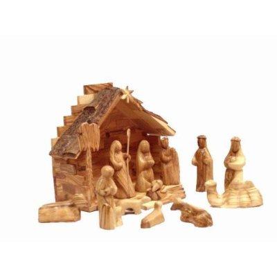 Olive Wood Nativity Set Modern Style Home Garden Decor