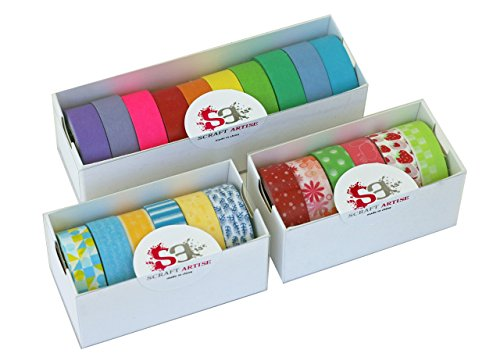 """Scraft Artise (22) Rolls of Washi Masking Tape Japanese Decorative Set, 15mm x 10m, approx. 5/8""""x 33', 10 Bright Solids, 12 Vibrant Prints, Fun for Scrapbooking, Journaling, Cards, DIY, Arts & Crafts"""