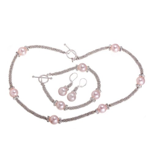 Pink Mother of Pearl Silver and Crystal 3 Piece Set (12mm), 18