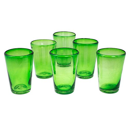 NOVICA Hand Blown Green Recycled Glass Drinking Glasses, 18 oz 'Lime Twist' (set of 6)