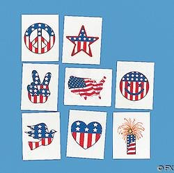 72 U.S.A. Patriotic TEMPORARY Tattoos/BIRTHDAY Party FAVORS/Toys/NEW in Package/RED White BLUE