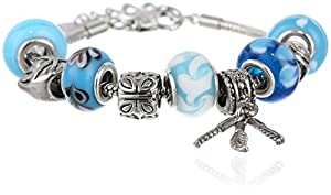 "Charmed Feelings Light Blue Murano Style Glass Beads and Charm Bracelet, 7.25"" + 1.5"" Extender"