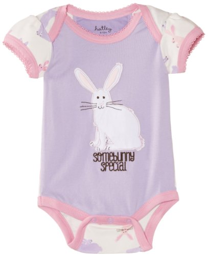 Hatley - Baby Baby-Girls Newborn Envelope Neck One Piece Soft Bunnies, Purple, 3-6 Months front-974460
