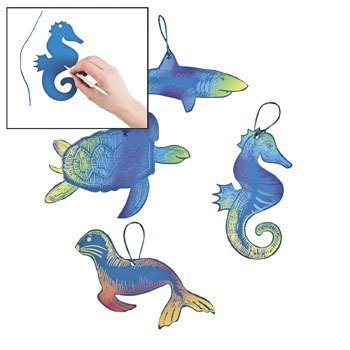 Fun Express 24 Magic Color Scratch Ocean Animal Ornaments, Assorted Styles
