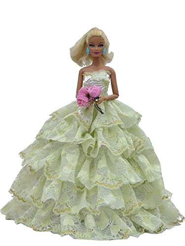 Beautiful Green Dress with Lots of Ruffles includes hand stick Rose Made to Fit the Barbie Doll