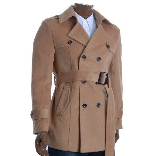 FLATSEVEN Mens Designer Double Breasted Winter Pea Coat (CT212) Beige, L