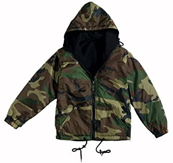 Reversible Nylon Jacket with Hood, Woodland Camo, Small