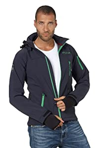 Fifty Five 2608 Alert|Outdoor Softshelljacke für Herren|mit Kapuze|wasserdicht|navy-grün|Gr. M