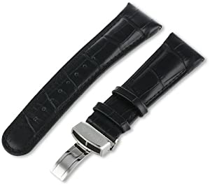 JBW Men's JB-24mmSILV_BLK 24mm Genuine Black Crocodile Pattern Butterfly Buckle Leather Watch Band
