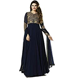 Samay Creation Navy Blue Georgette Embroidered Semi-stitched Anarkali Dress Material