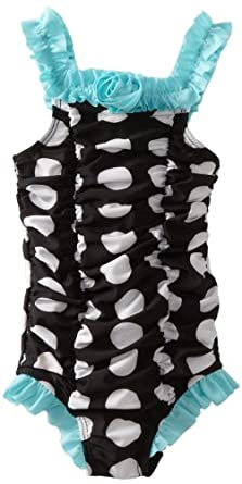 ABSORBA Baby-Girls Infant Polka Swimsuit One Piece, Black, 12