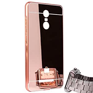 Aart Luxury Metal Bumper + Acrylic Mirror Back Cover Case For Redmi Note 3 RoseGold+ Flexible Portable Mount Cradle Thumb OK Designed Stand Holder