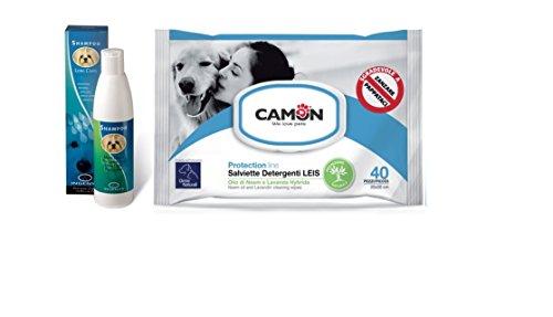 Shampoo per manti lunghi ingenya & Camon salviette all'olio di neem e lavanda per cani