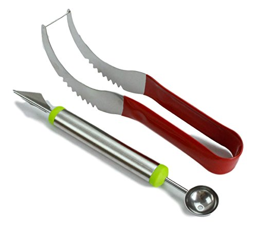 Saakiaz Watermelon Slicer Corer Cutter Tongs & Server Set - as Seen on TV - Dual Purpose Melon Baller and Fruit Carving Knife- Premium 100% Stainless Steel