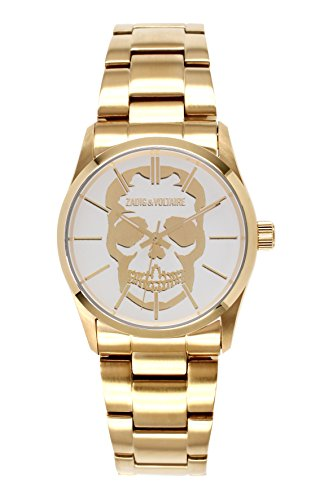Zadig Voltaire ZV &007T/1BM Rock Unisex Watch Analogue Quartz White Dial Gold Plated Steel Bracelet