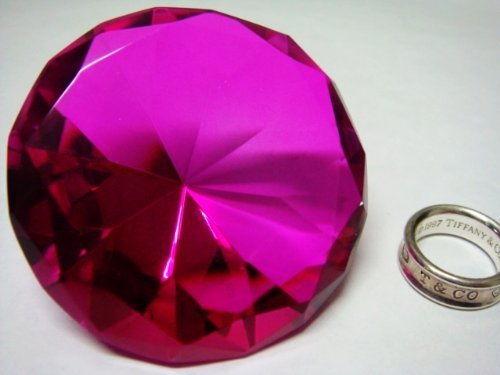 Mother's Day Special: Small Hot Pink Glass Crystal Diamond Shaped Paperweight 2.25