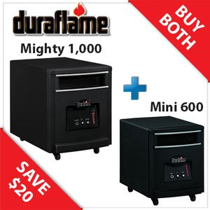Duraflame Powerheat Duo Mighty 1000 Sq Ft & Mini 600 Sq Ft - 8HM1500-7HM1000 image B00A796W38.jpg