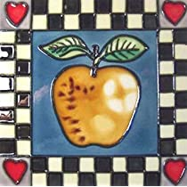 Apple Tile for Teacher Decorative Ceramic Wall Art Tile 6x6