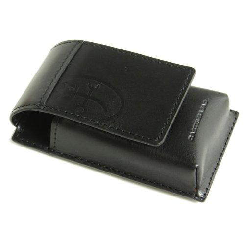 CASTELBAJAC(カステルバジャック)トリエシリーズ 縦型 携帯ケース デジカメケース ケータイ ケース 牛革 ヌメ革 帆布 164901 クロ
