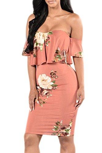 Pretid Sexy Women Floral Off Shoulder Ruffle Plain Stretch Bodycon Midi Dress