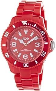 ICE-Watch - Montre Mixte - Quartz Analogique - Ice-Solid - Red - Unisex - Cadran Rouge - Bracelet Plastique Rouge - SD.RD.U.P.12