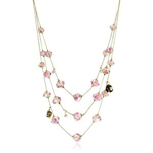 "Betsey Johnson ""Tzarina Princess"" Pink Flower Bead Multi-Row Necklace"