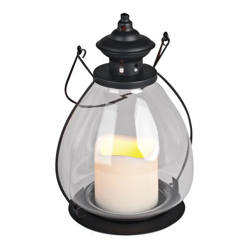 Everlasting Glow Metal School House Lantern With Glass And LED Candle