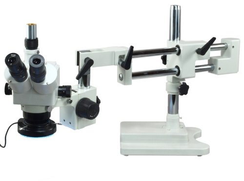 Omax 5X-80X Zoom Binocular Dual-Bar Boom Stand Stereo Microscope With 144 Led Ring Light With Light Control Box