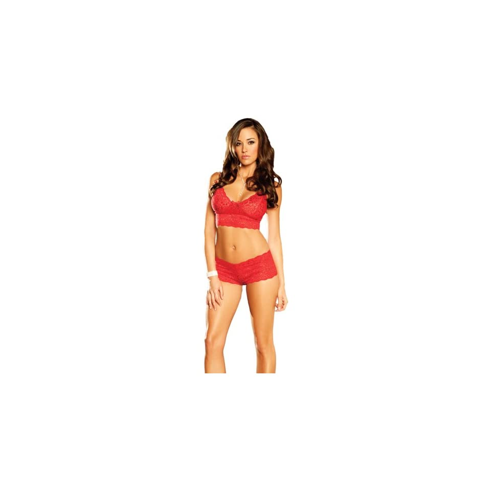 Elegant Moments Womens Stretch Lace Cami and Booty Short Set, Red, Large