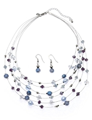 M&S Collection Stargazer Multi-Faceted Bead Necklace & Earrings Set