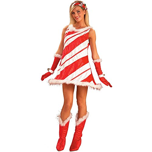 Miss Candy Cane Adult Halloween Costume (Standard One-Size)