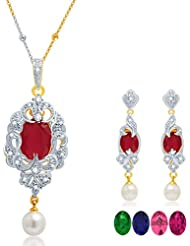 Sukkhi Fabulous Gold And Rhodium Plated CZ Pendant Set With Set Of 5 Changeable Stone For Women