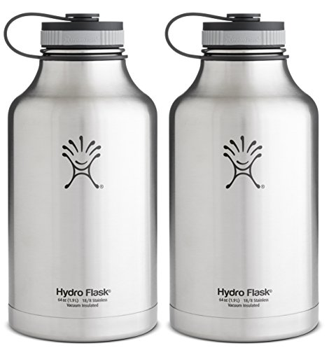 Hydro Flask Insulated Stainless Steel Wide Mouth Water Bottle And Beer Growler, 64-Ounce,64-Ounce,2 Pack: Silver & Silver front-839392