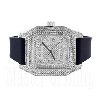 Techno Pave Watches Mens White Simulated Diamonds Brand New Rubber Strap (Watch Techno Watch compare prices)