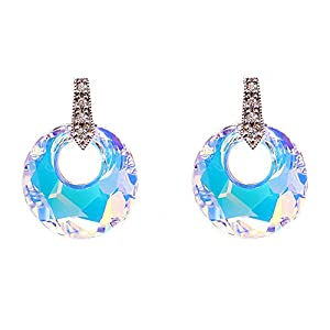 Swarovski Elements Fine Silver Multi-Color Donut Ring Round Circle Fashion Jewelry Dangle Eardrop Stud Earrings