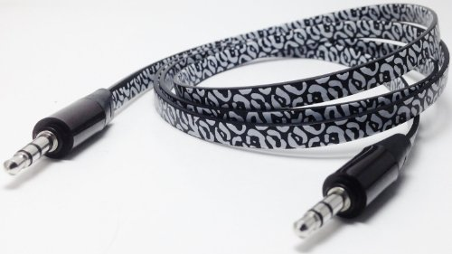 Cablesfrless (Tm) 6Ft 3.5Mm Patterned Tangle Free Auxiliary (Aux) Cable (Leopard Black)