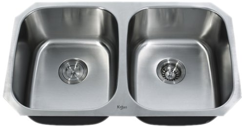 Kraus KBU22 32-Inch Undermount 50/50 Double Bowl 16 gauge Kitchen Sink, Stainless Steel