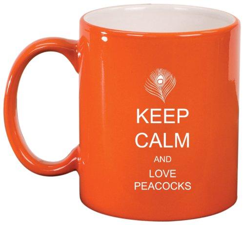 Orange Ceramic Coffee Tea Mug Keep Calm And Love Peacocks