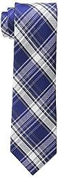 Calvin Klein Men\'s University Plaid Tie, Royal, One Size