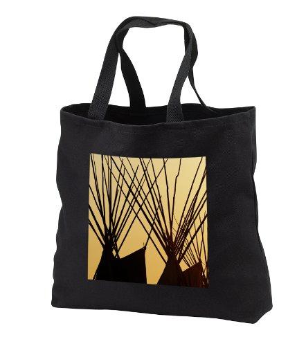 Native American Tepees At Sunset, Montana - Us27 Aje0098 - Adam Jones - Black Tote Bag Jumbo 20W X 15H X 5D front-1087201