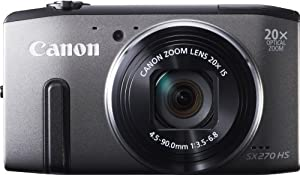 Canon PowerShot SX270 HS Compact Digital Camera - Grey (12.1MP, 20x Optical Zoom) 3 inch LCD