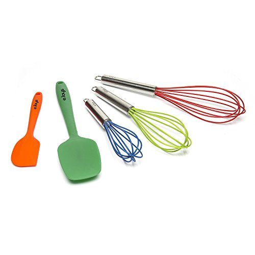 Whisk, Silicone Whisks, Spatula, and Spoon, 5 piece Premium Cooking Utensil Set Includes Small, Medium, and Large Whisks, Spatula, and Stirring Spoon (Silicone Whisk And Spatula Set compare prices)